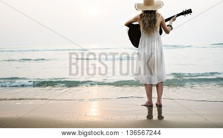 Woman Guitar Lady Rhythm Beach Holiday Girl Concept