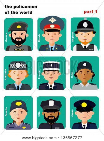 set of icons avatars the police officers from all over the world, flai icons, vector illustration, women and men