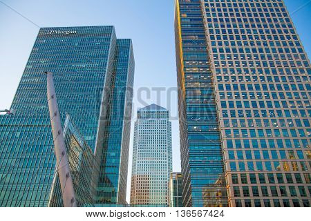 London UK- May 21, 2015:  Canada Tower of Canary Wharf. Office buildings at sunset, international business and banking aria