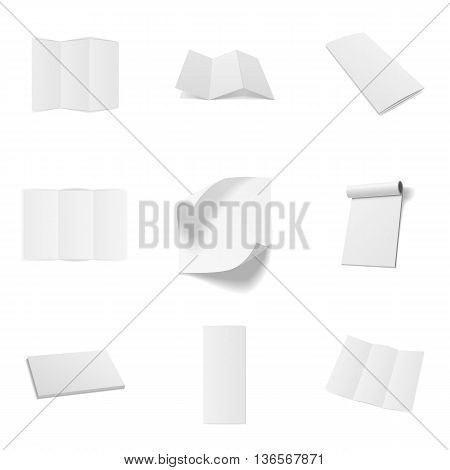 Business Office blank Mockups Set. Magazines, folded Sheets, Frames and Notebooks. Vector Illustration