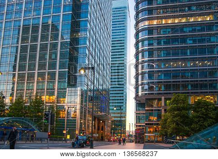 London UK- May 21, 2015:  Canary Wharf Office buildings at sunset, international business and banking aria