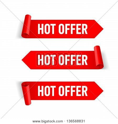 Set of Red Paper Stickers on White Background