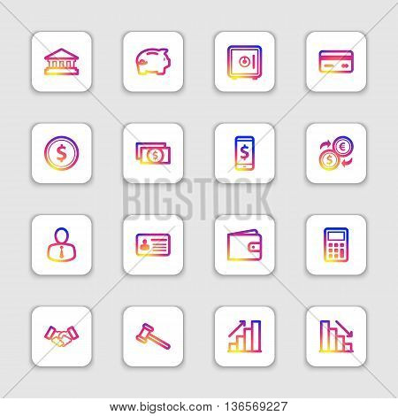 colorful smooth gradient line business finance and commercial icon set on white rounded rectangle with soft shadow for web design user interface (UI) infographic and mobile application