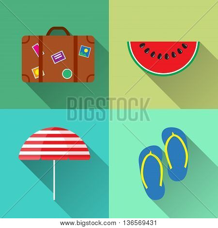 Set of Four summer icons - Suitcase Parasol Step-ins and Watermelon in flat style with long shadow