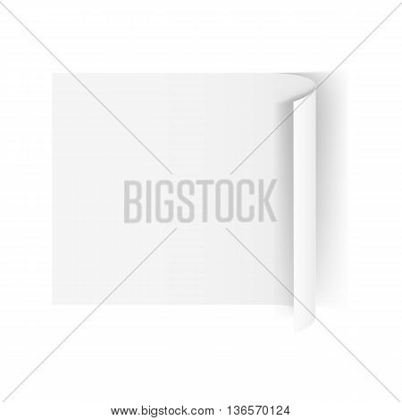 Illustration of White One Paper Sticker with Shadow