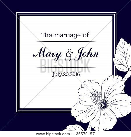 square frame with hibiscus flowers. Vector illustration. Wedding invitation. Sketch roses and branches. vintage card. dark blue color