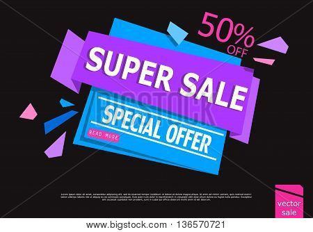Sale Sign Banner Poster ready for Web and Print. Sale with Special Offer