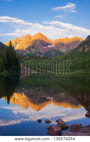 Sunrise at Maroon bell aspen Colorado.  (Maroon Peak and North Maroon Peak.Both peaks are  fourteeners )