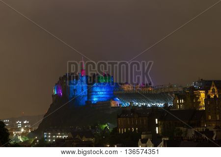 Illuminated Edinburgh Castle, Scotland, Uk