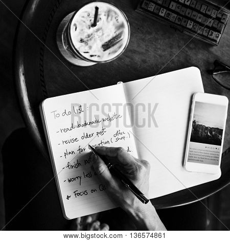 Writing To Do List Notebook Coffee shop Concept