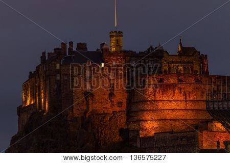 Illuminated Edinburgh Castle, Scotland, Uk