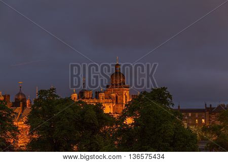 Illuminated George Heriot's School In Edinburgh, Scotland On Cloudy Night