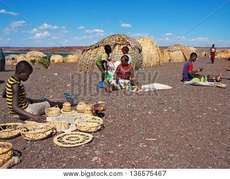El Molo People Sells Traditional Souvenirs