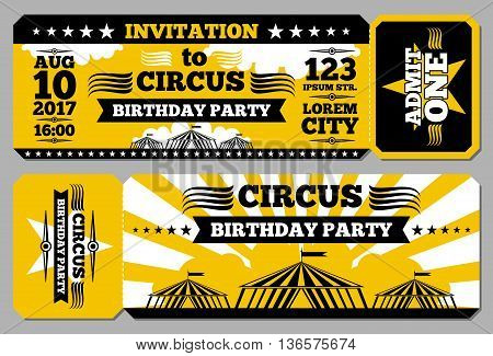 Circus ticket birthday card vector mockup. Invitation to birthday, illustration invitation template for circus