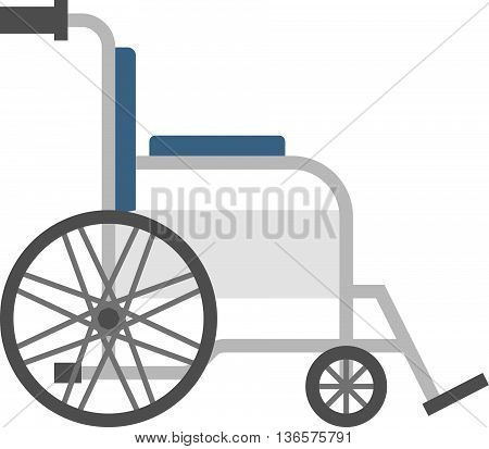 Vector silver wheelchair, flat design no background