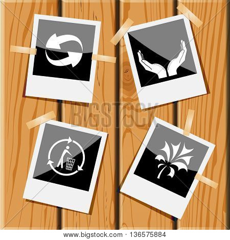4 images: recycle symbol, human hands, recycling bin, plant. Ecology set. Photo frames on wooden desk. Vector icons.