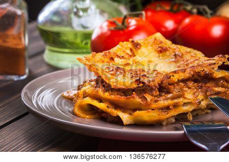 Piece Of Tasty Hot Lasagna On A Plate