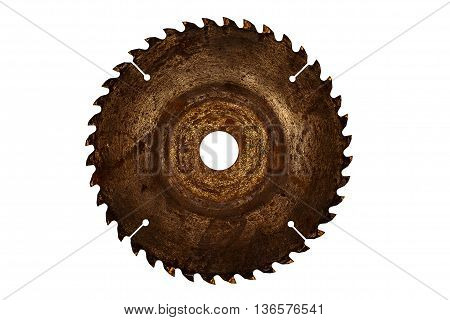 Old circulate saw blade isolated on white background with clipping path.
