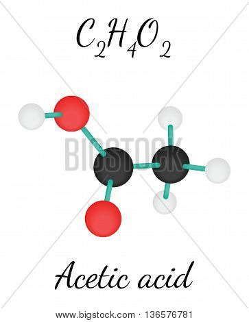 C2H4O2 acetic acid 3d molecule isolated on white