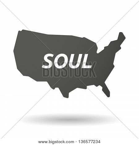 Isolated Usa Map Icon With    The Text Soul