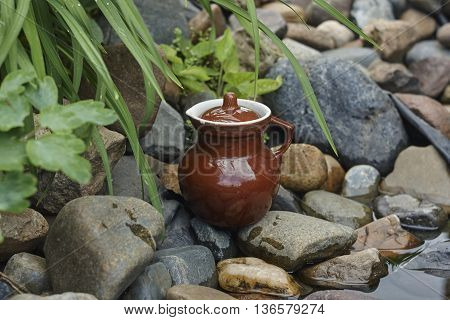 brown old jug near water and stones in garden close up