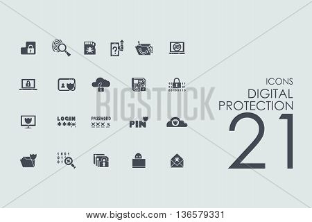 digital protection vector set of modern simple icons