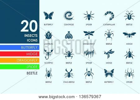 insects vector set of modern simple icons