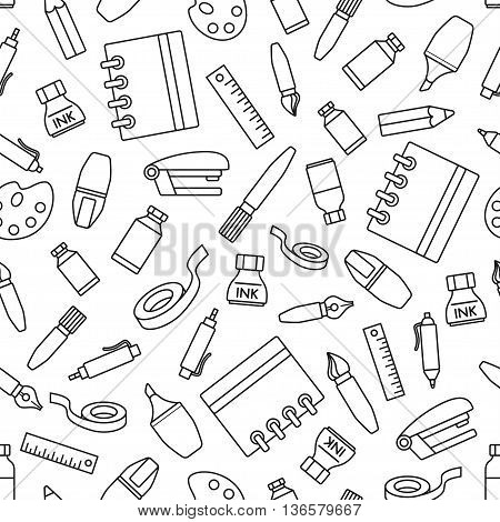 Seamless pattern with stationery design element. Various school supplies and stationery on white background.