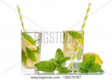 Summer Lemonade With Lemon And Mint Isolated On White Background