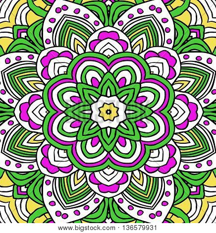 Retro background in green and pink colors, lace mandala pattern