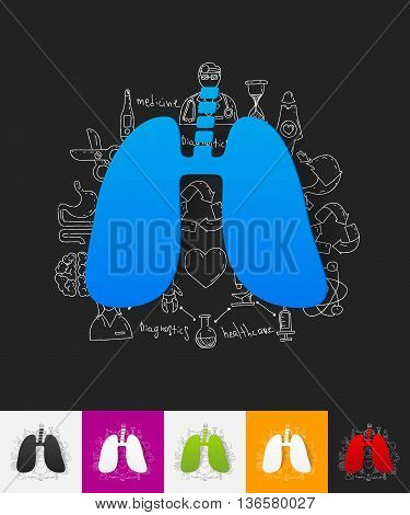 hand drawn simple elements with lung paper sticker shadow