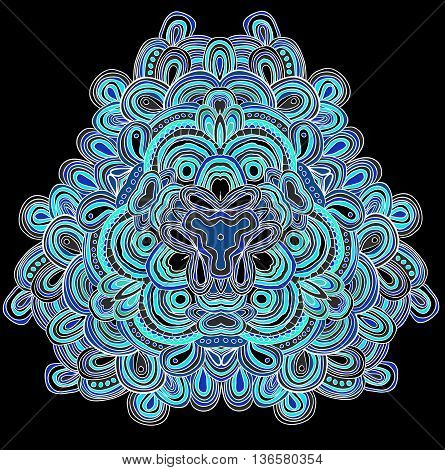 Vector hand drawn template. Lines pattern in blue colors. Mandala.