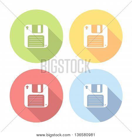 Floppy Disk Flat Icons Set