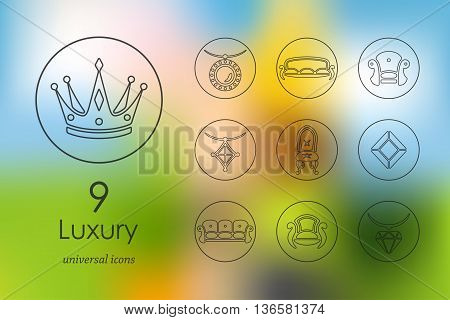 luxury modern icons for mobile interface on blurred background