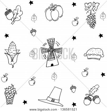 Thanksgiving with hand draw in doodle illustration