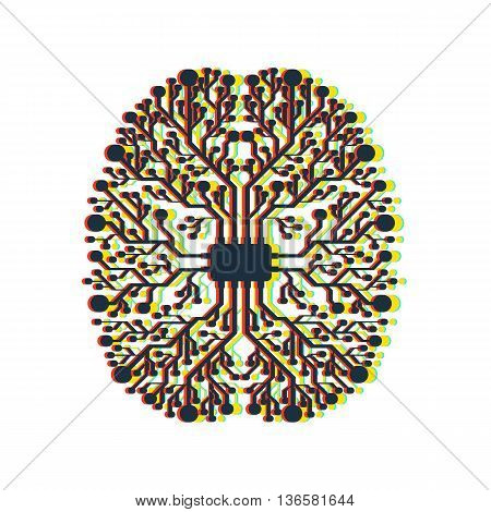 Motherboard brain on white background with stereo effect