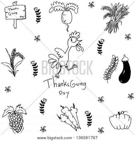 Doodle of han draw vegetable thanksgiving vector