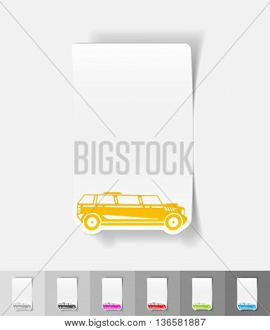 limousine paper sticker with shadow. Vector illustration