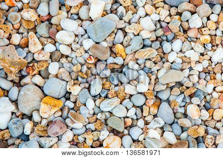 Pebbles Background And Texture, Beach From Kho Lanta, Thailand.