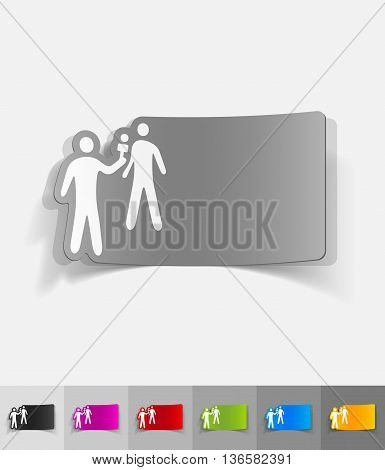interviewer and the respondent paper sticker with shadow. Vector illustration