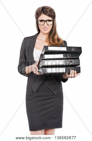 Business Woman in business suit holding folders