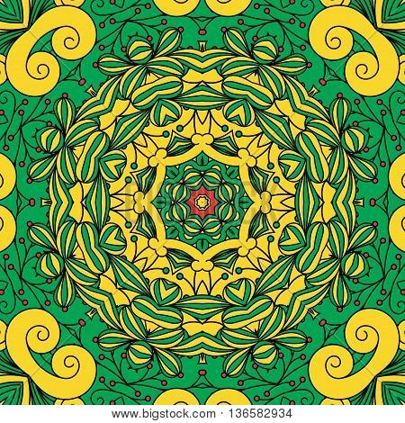 Beautiful full frame background with patterns and geometric designs colored green and yellow