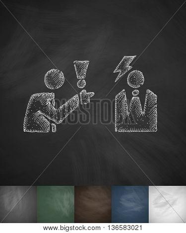 dispute icon. Hand drawn vector illustration. Chalkboard Design