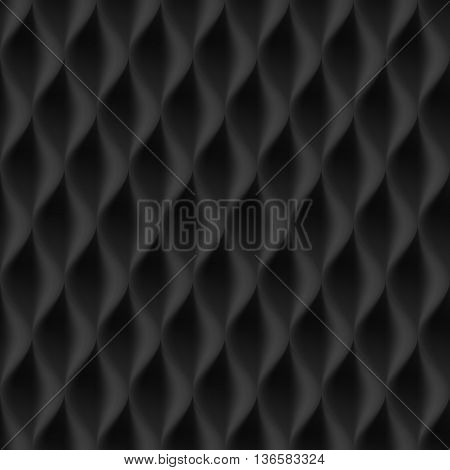 Vertical Wavy Seamless Pattern. Black Color Background
