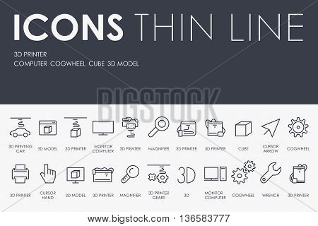 Thin Stroke Line Icons of Three D Printer on White Background