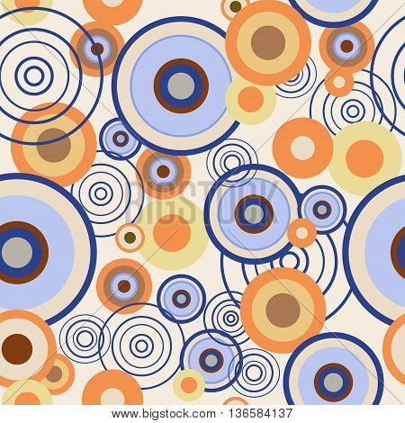 The seamless pattern with a colored circles