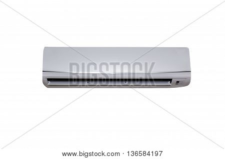 Grey color air conditioner machine isolated on White background with copy space