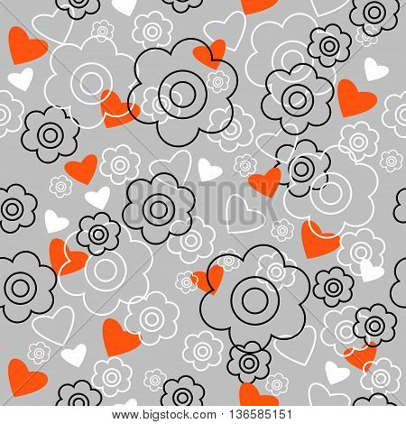 The graphically seamless pattern with a flowers