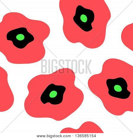 The seamless pattern with a red poppies