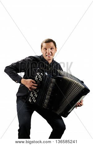 Accordion player. Funny people young. Photo shoot of classical musician